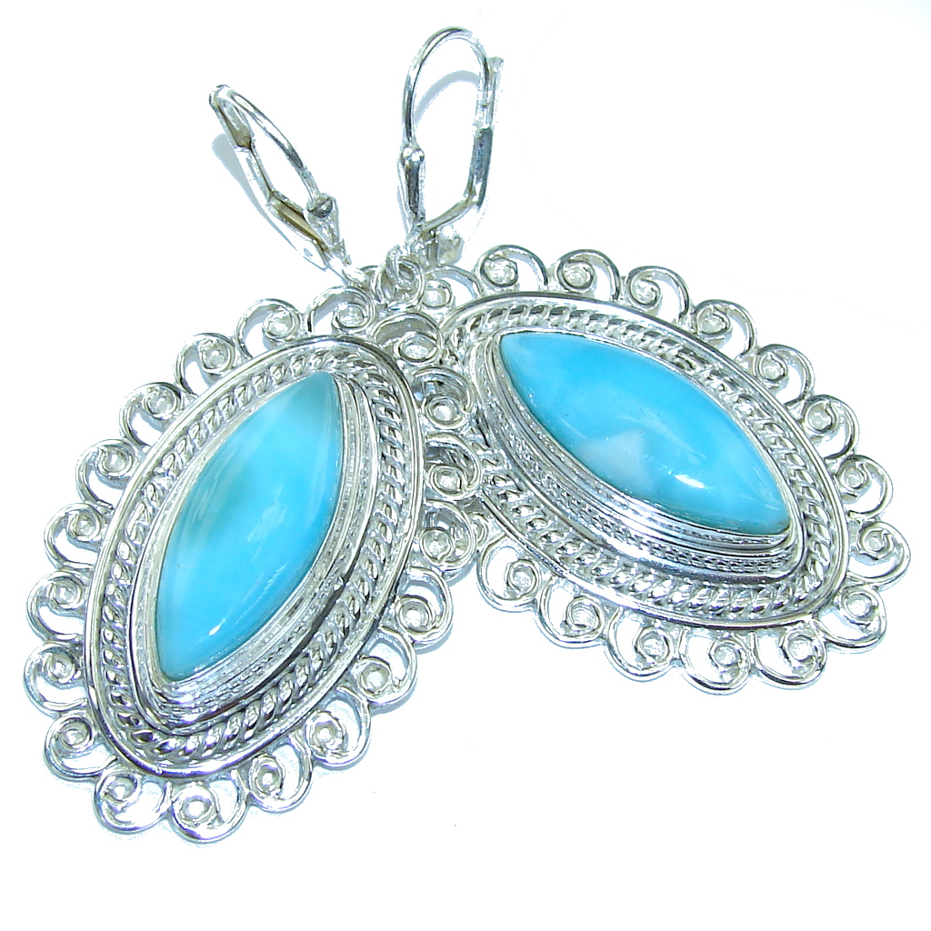 Big! Fancy Style! AAA Blue Larimar Sterling Silver earrings