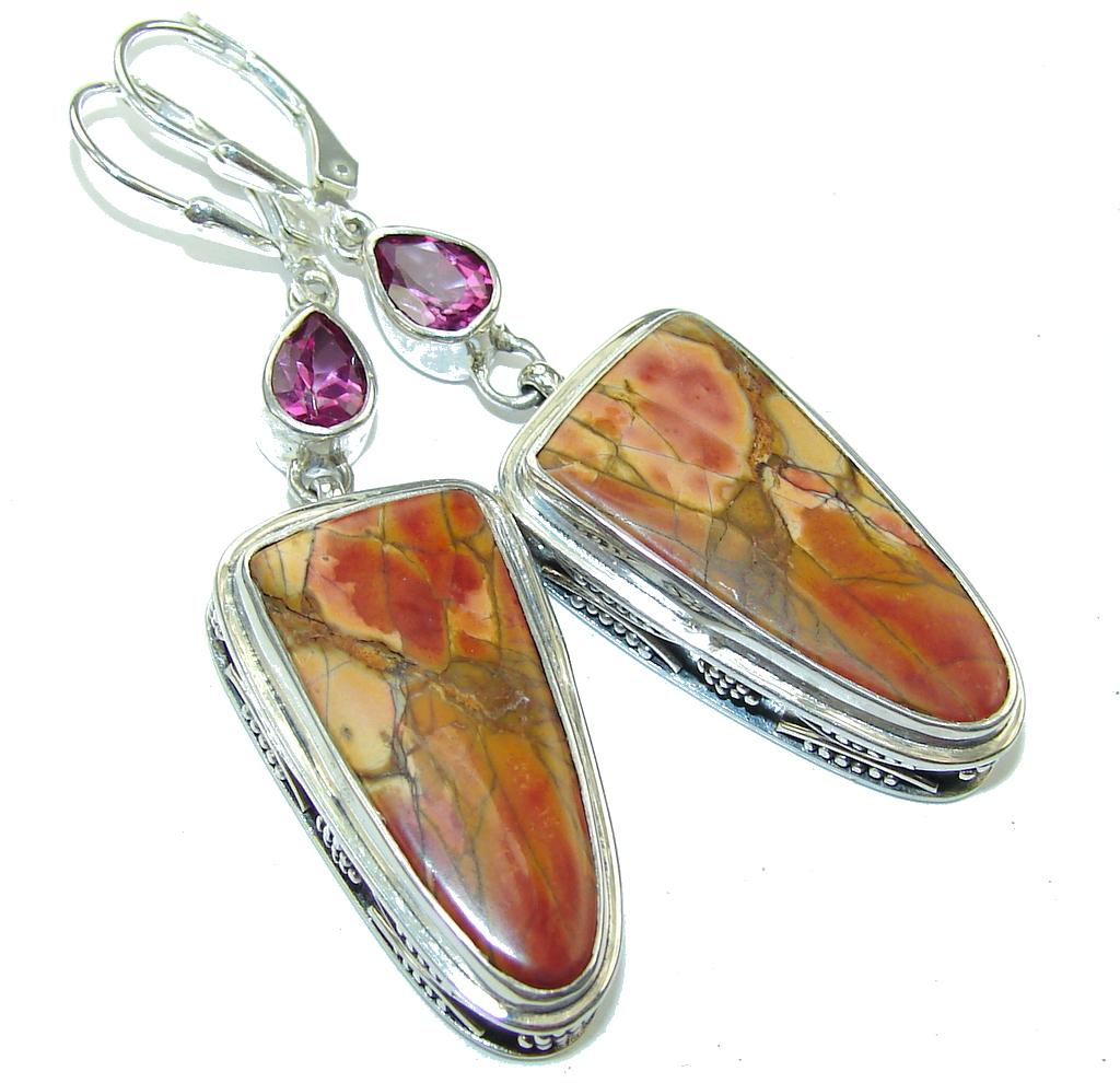 Amazing Style! Tourmaline & Red Creek Jasper Sterling Silver earrings