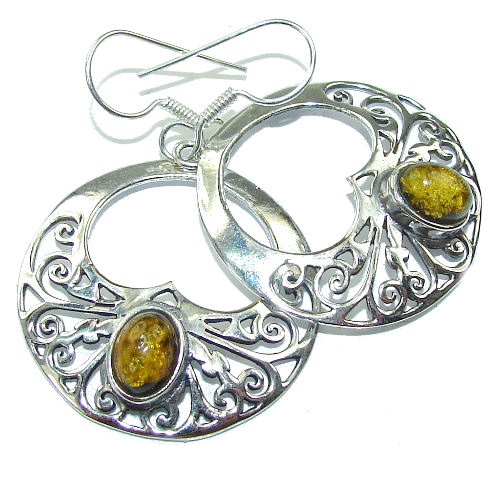 Delicate Green Polish Amber Sterling Silver Earrings