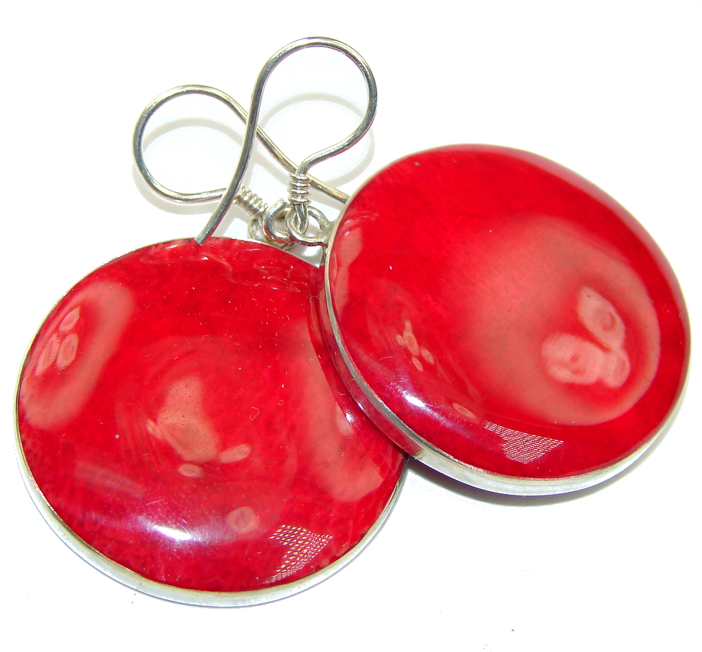 Deep Love! Red Fossilized Coral Sterling Silver earrings
