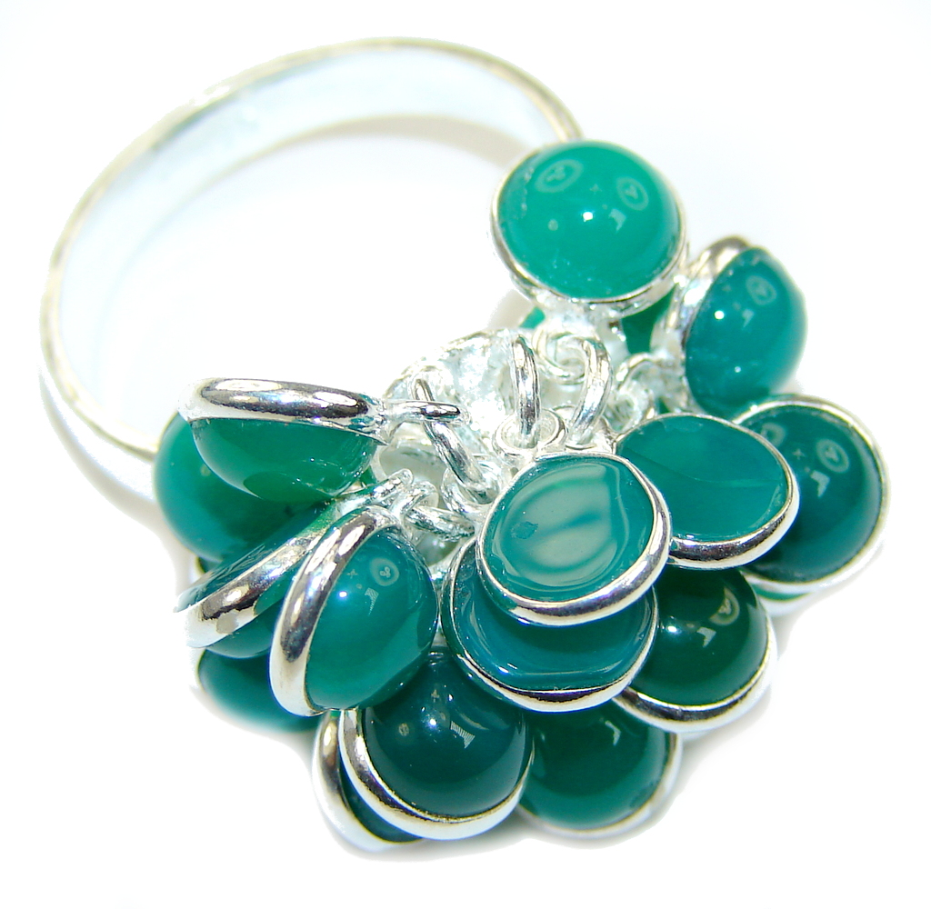 Fashion Green Agate Sterling Silver Ring s. 9 1/2