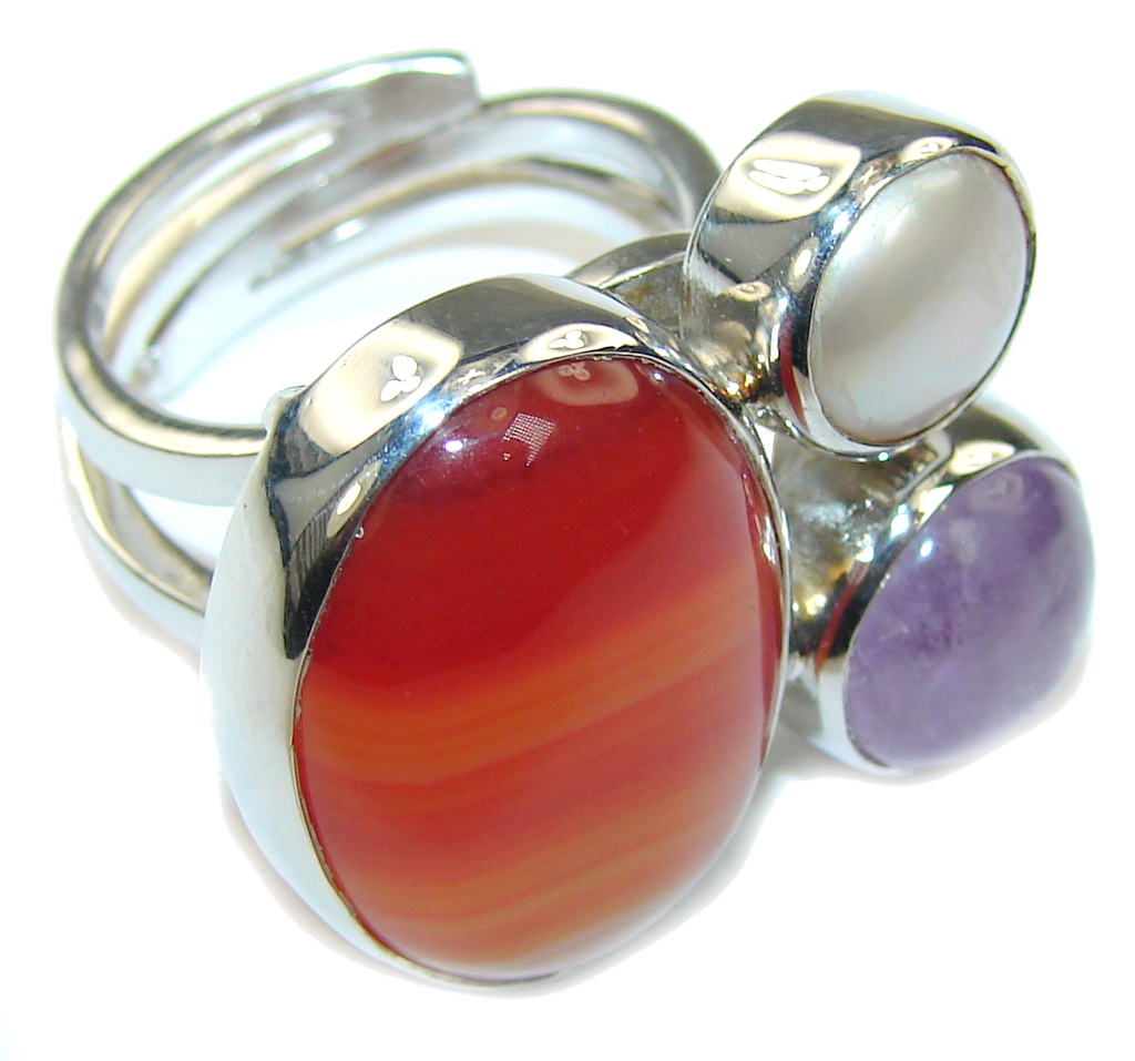 Pale Beauty! Botswana Agate Sterling Silver Ring s. 6 - adjustable
