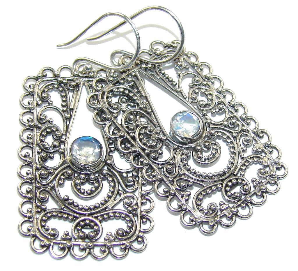 Bali Dream! White Moonstone Sterling Silver earrings