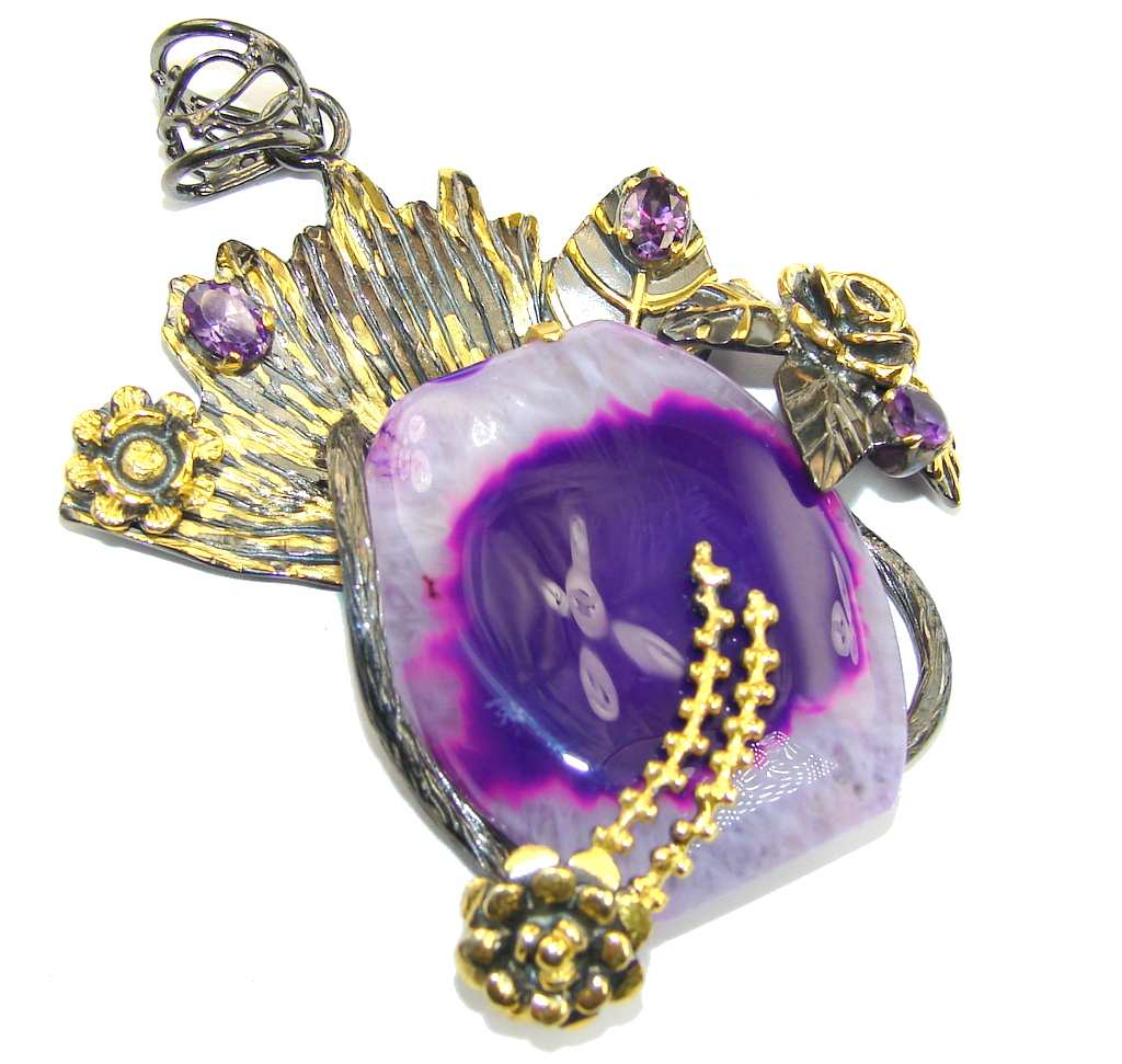 Big! Purple Laguna AAA Botswana Agate,Gold Plated, Rhodium Plated Sterling Silver Pendant