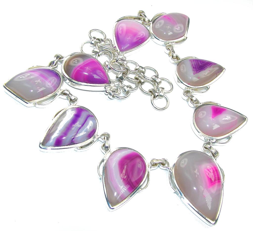 Dainty Daisy!! Purple Botswana Agate Silver Overlay necklace