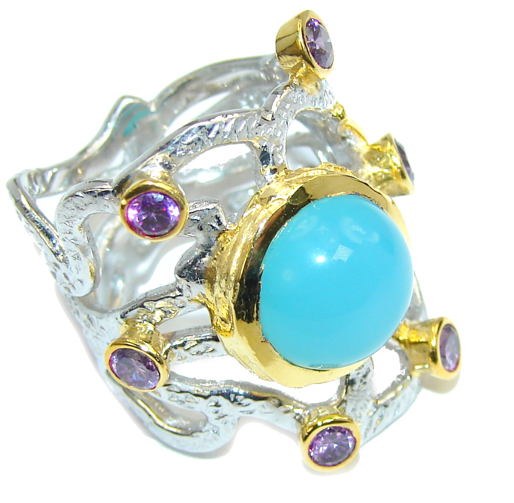 Blue Galaxy Blue Agate Amethyst Two Tones Sterling Silver Ring s. 7