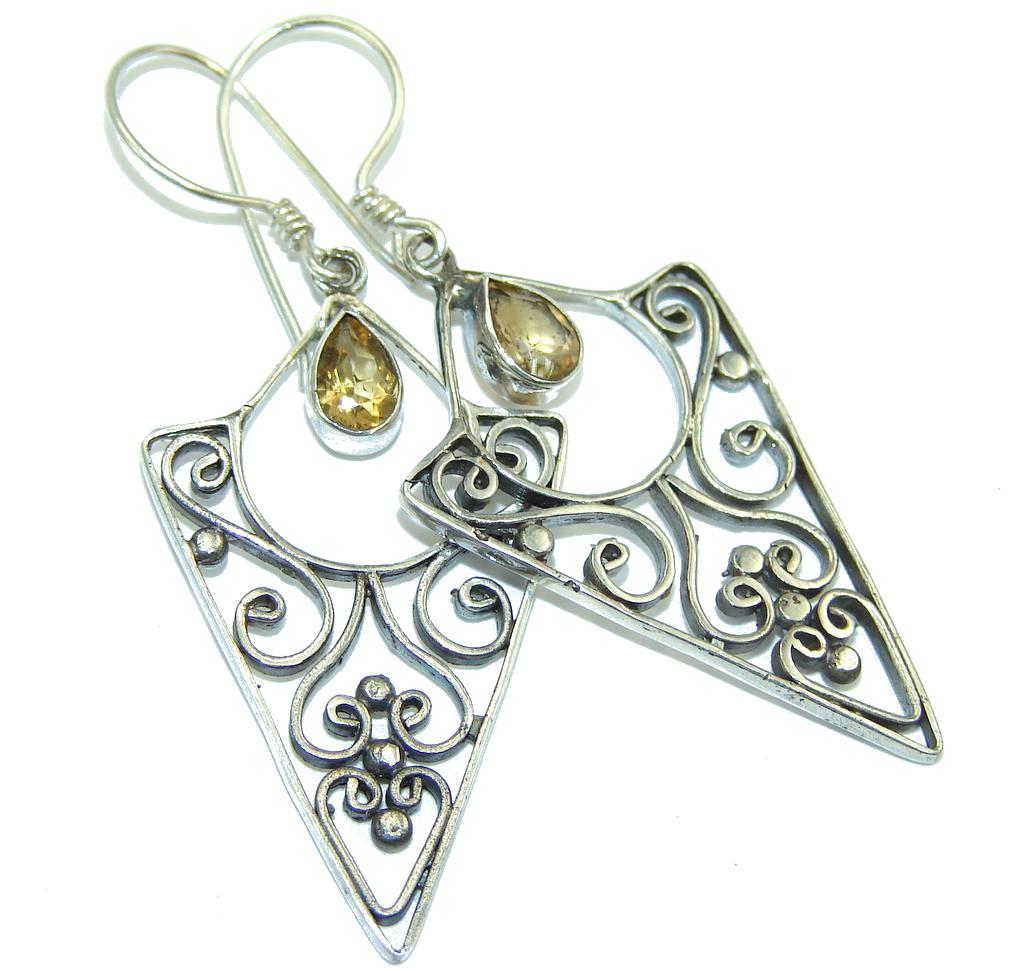Bali Secret Yellow Citrine Sterling Silver earrings