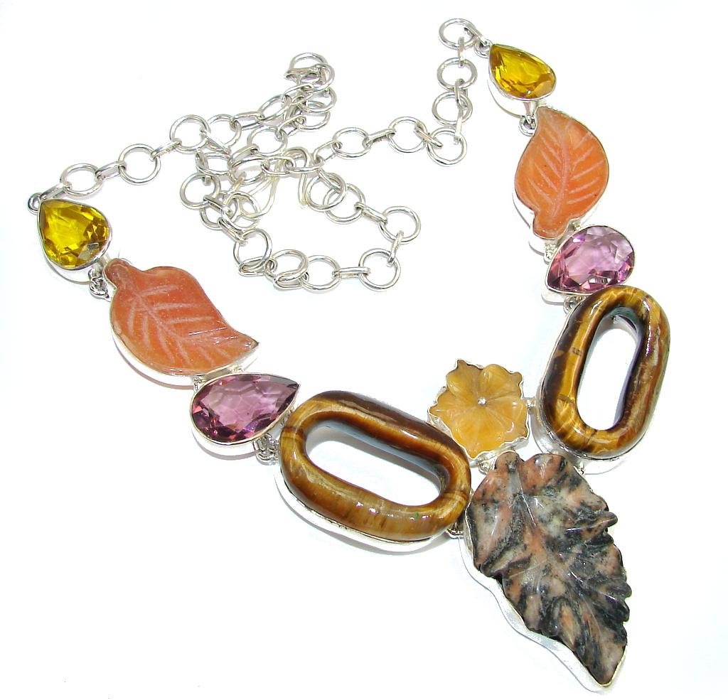 Big! Classic Design Dendritic Agate Sterling Silver necklace
