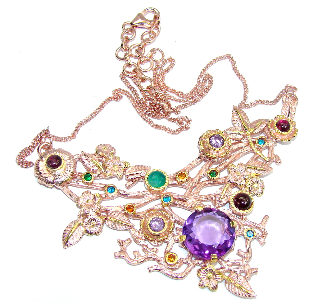 Path Of Life AAA Purple Cubic Zirconia, Rose & Gold Plated Sterling Silver Necklace