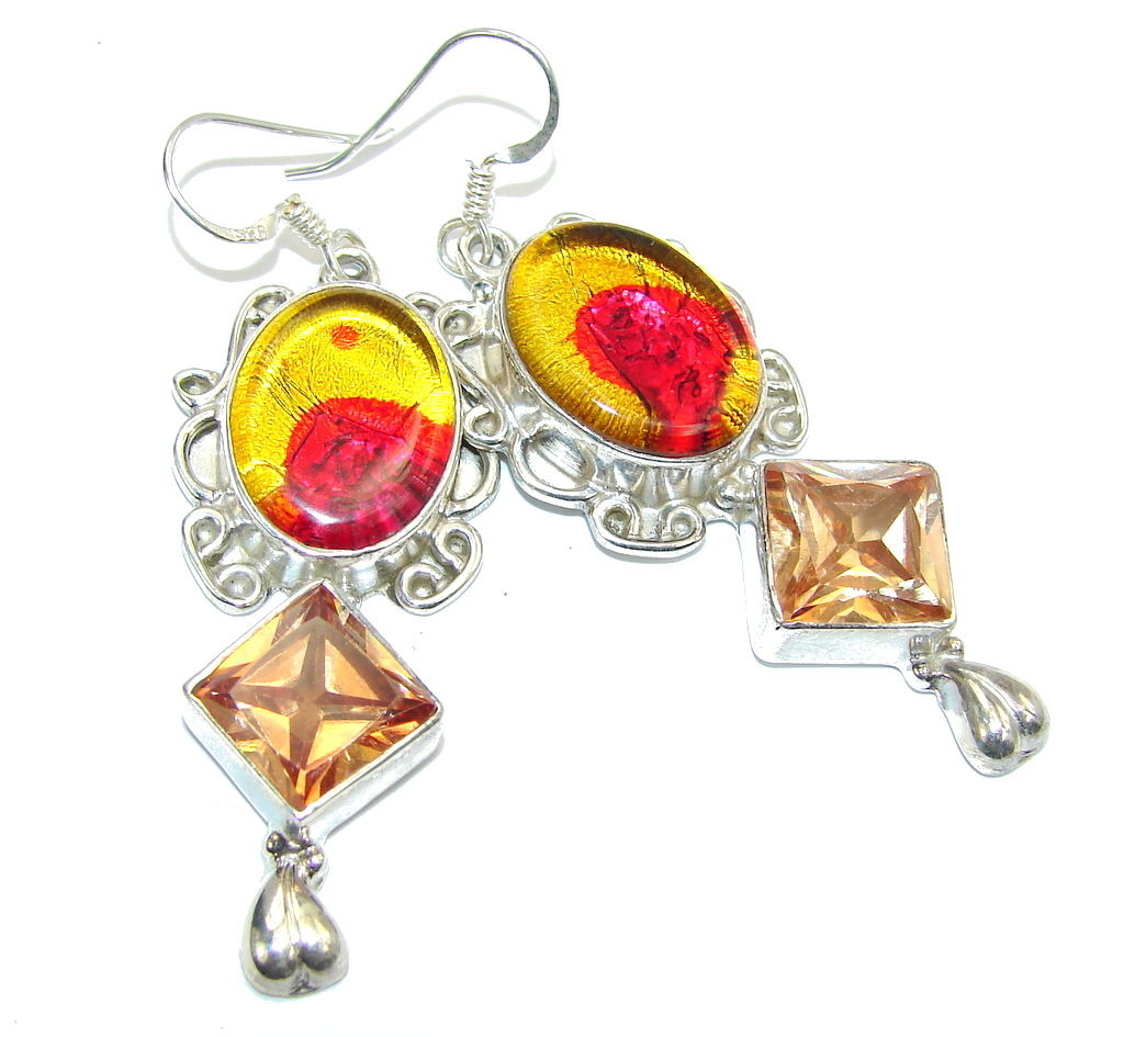 Amazing Multicolor Dichroid Glass Sterling Silver earrings