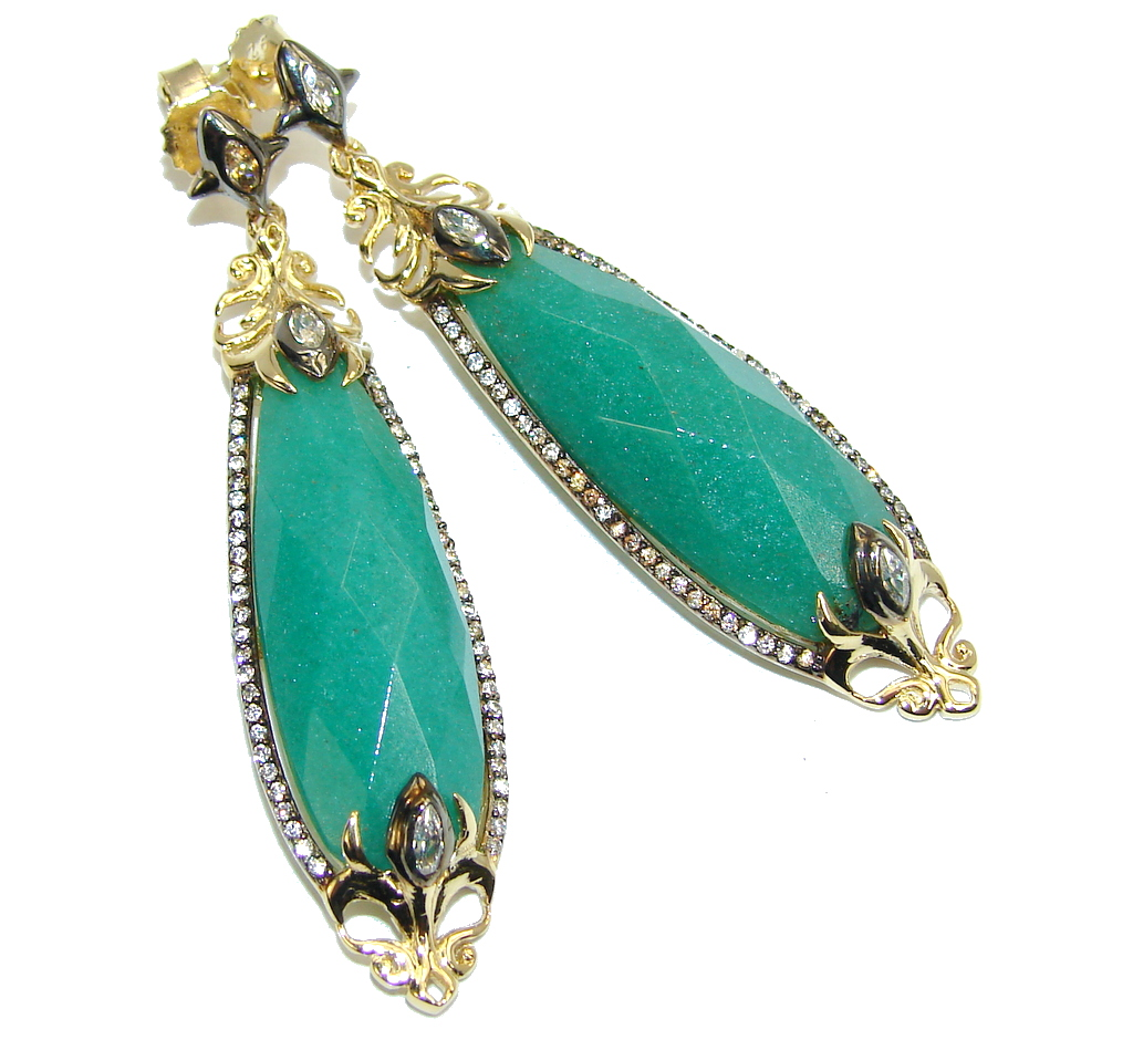 Excellent AAA Green Jade Two Tones Sterling Silver Earrings