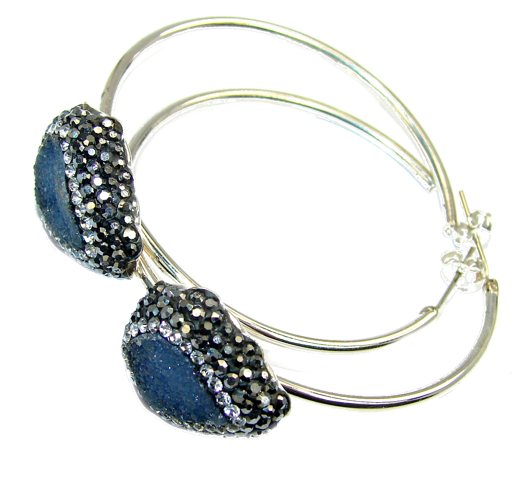 Big! Victorian Style Blue Druzy Sterling Silver Earrings
