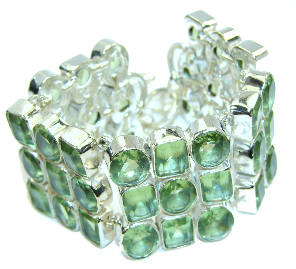 Beautiful Created Green Peridot Sterling Silver Bracelet