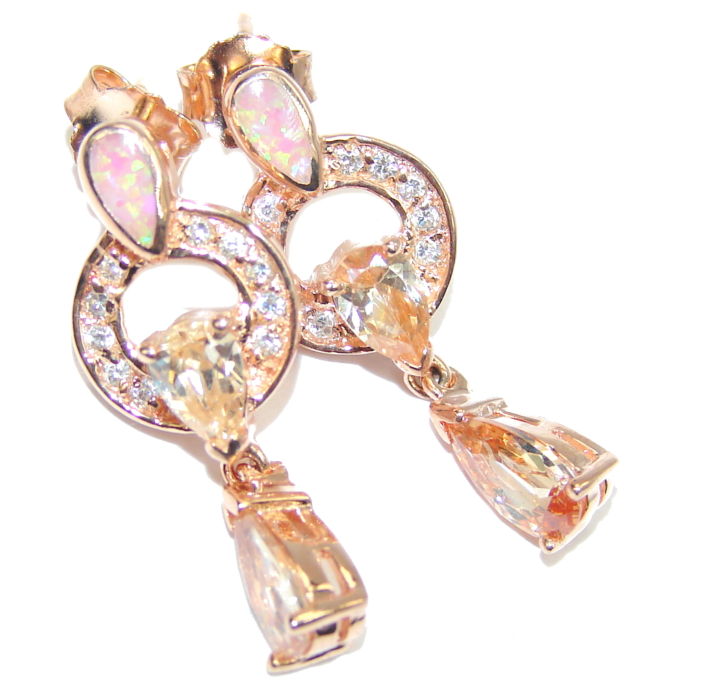 Exclusive created Morganite Rose Gold Plated Sterling Silver earrings