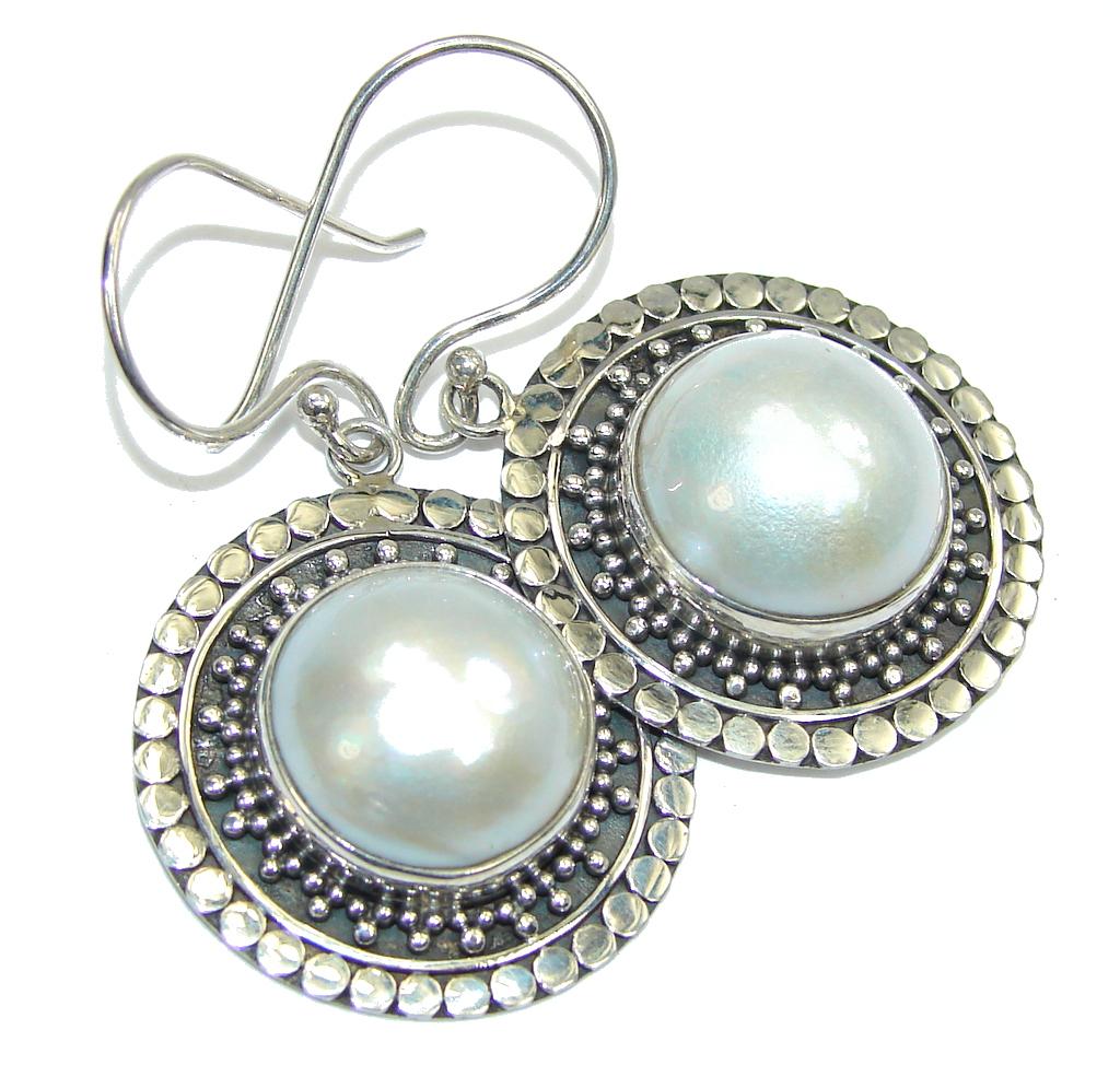 Big! Delicate Fresh Water Pearl Sterling Silver earrings