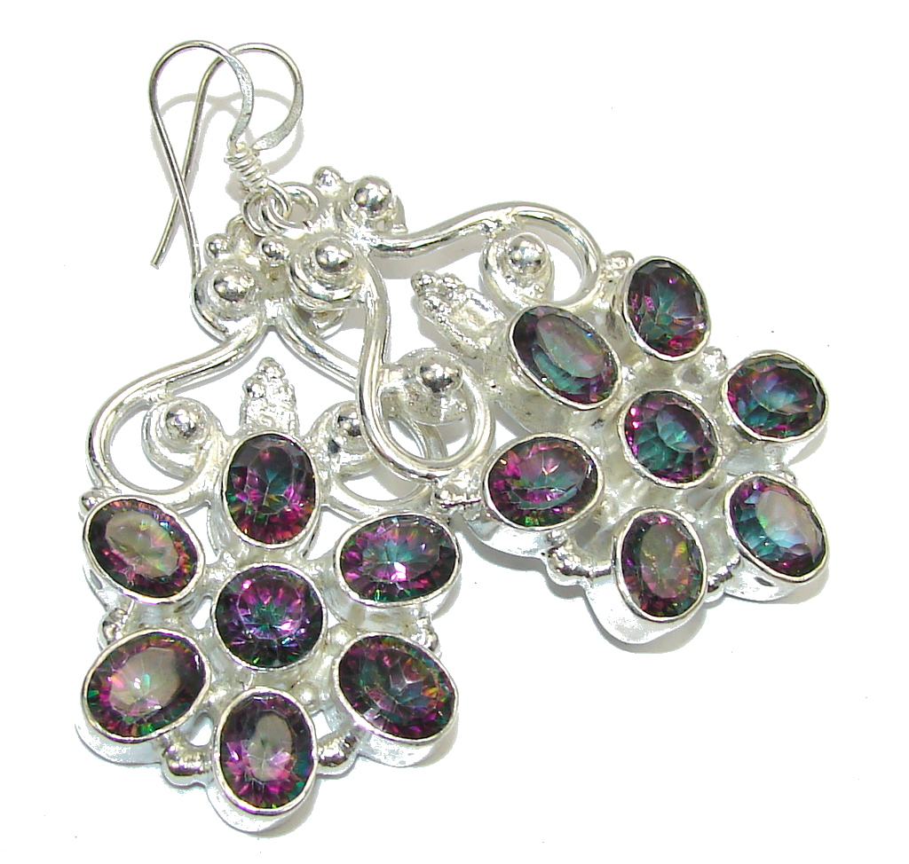 Big! Tropical Glow Magic Topaz Sterling Silver earrings