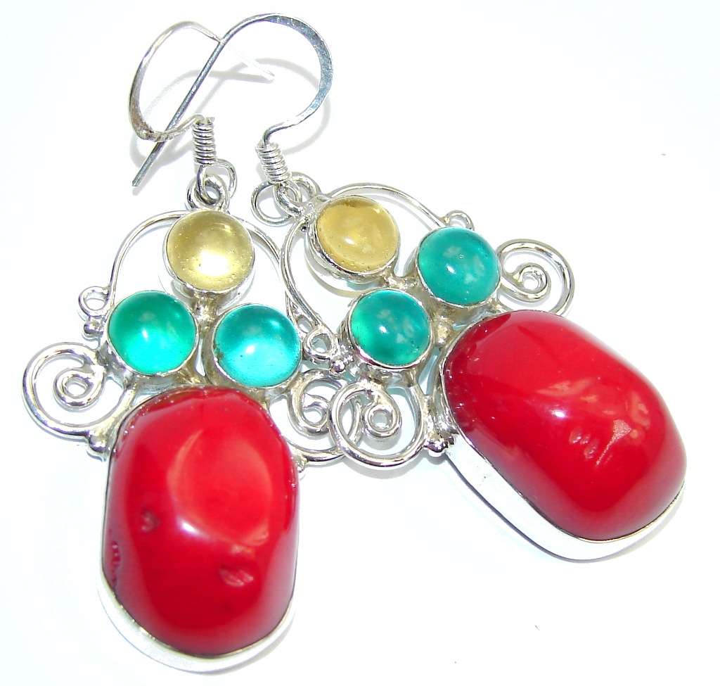 Classic Beauty Red Fossilized Coral Sterling Silver earrings