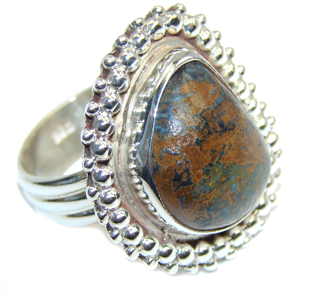 Classic Brown Montana Agate Sterling Silver ring; s. 8