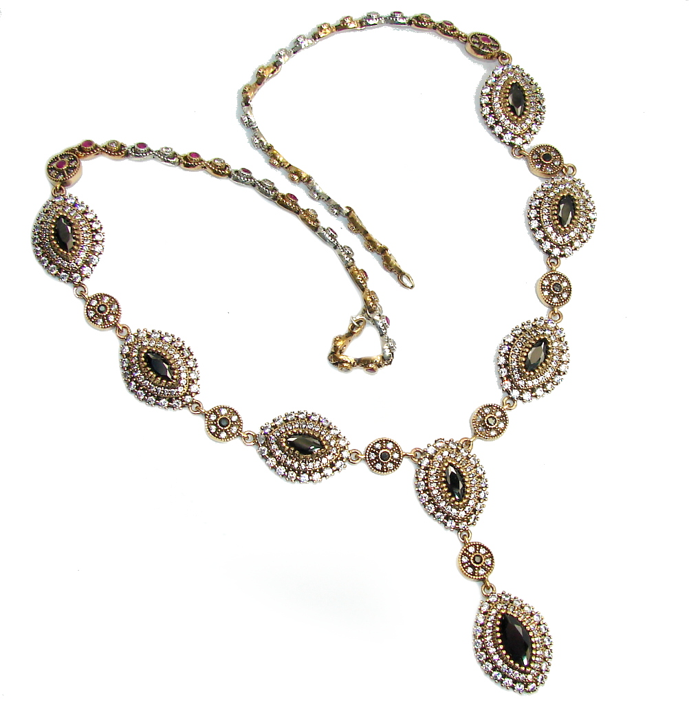 Victorian Style Black Spinel & White Topaz Sterling Silver Necklace