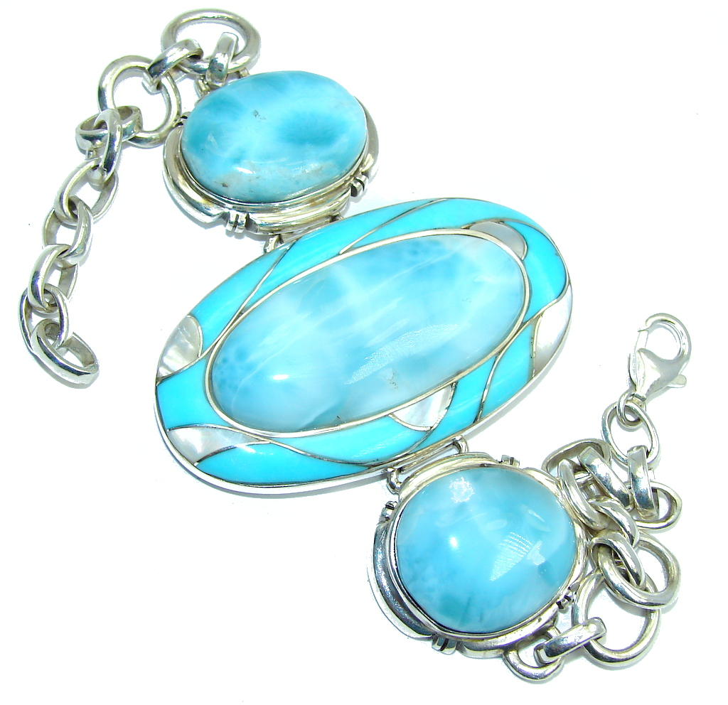 Genuine AAA Blue Larimar & Blister Pearl Sterling Silver Bracelet