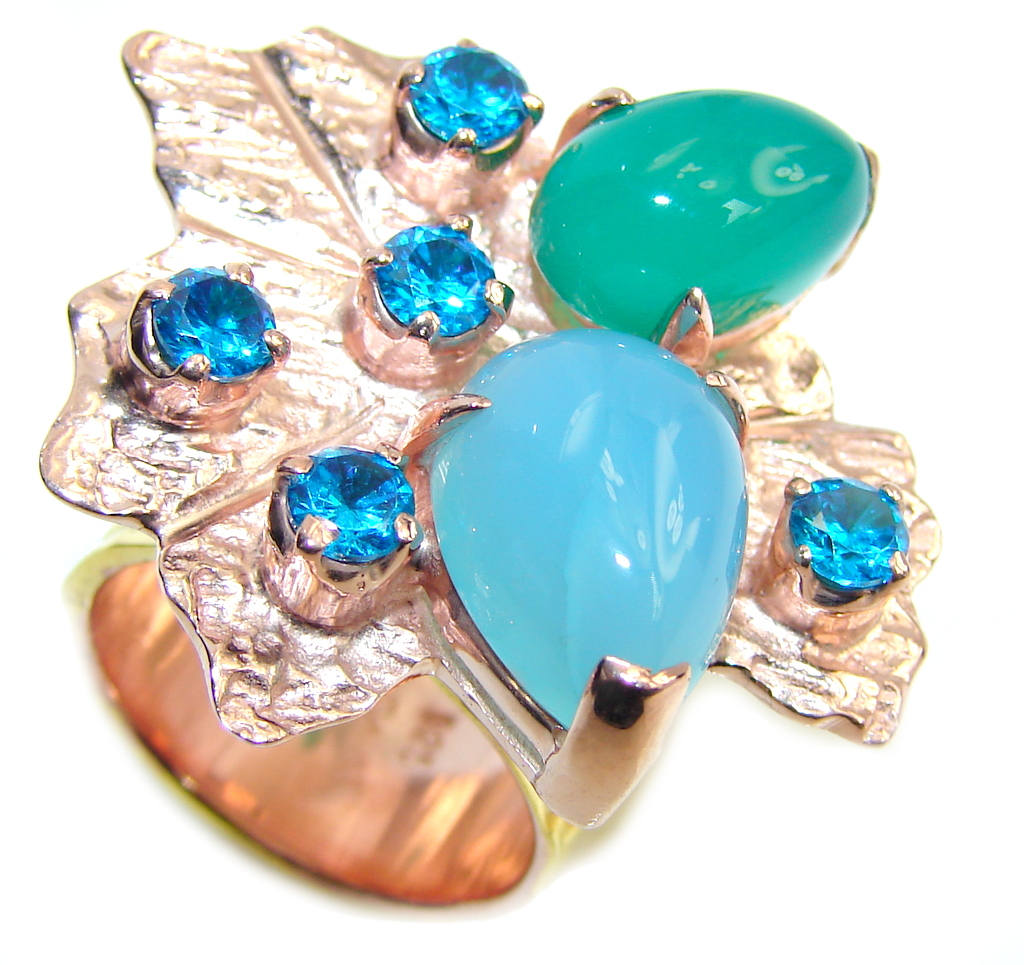 Beautiful Style! Green - Blue Agate, Rose & Gold Plated Sterling Silver Ring s. 6