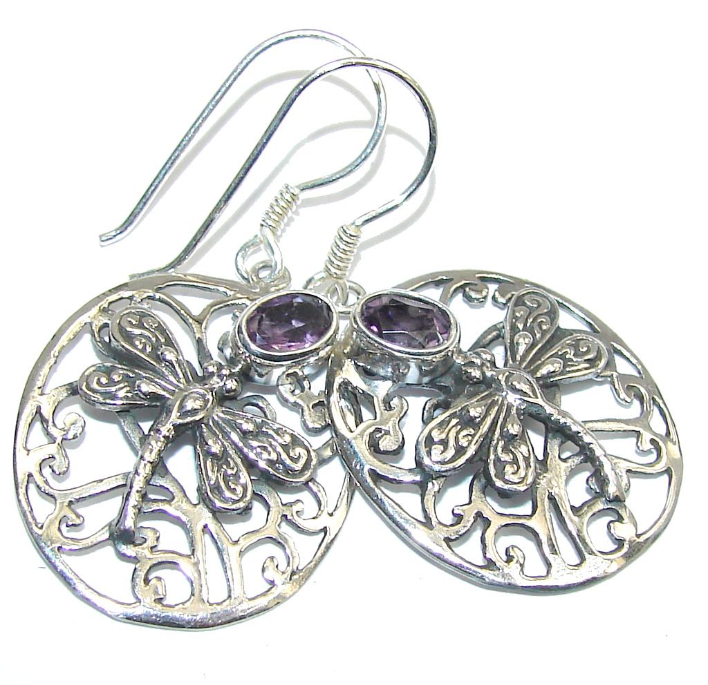 Bali Style! Purple Amethyst Sterling Silver earrings