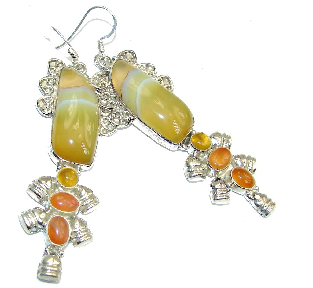 Summer Beauty! Botswana Agate Sterling Silver earrings / Long