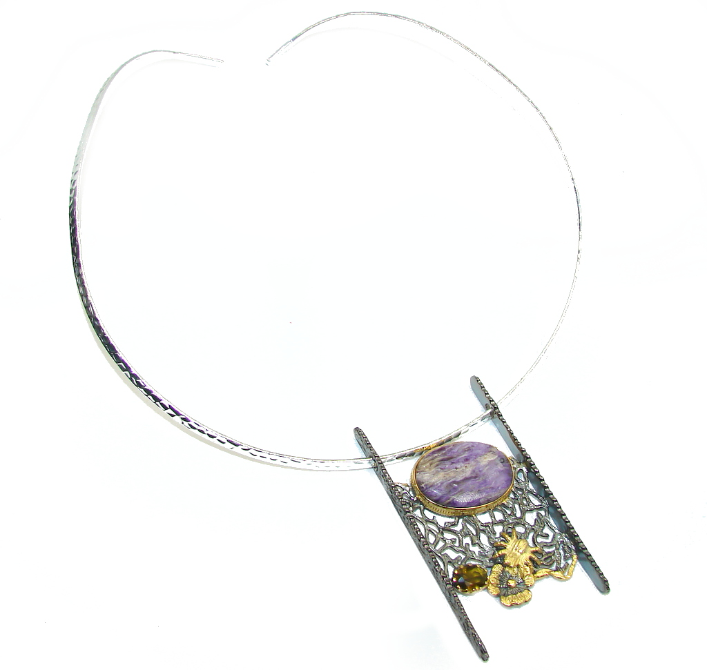 One of The Kind Purple Siberian Charoite Sterling Silver handmade Necklace
