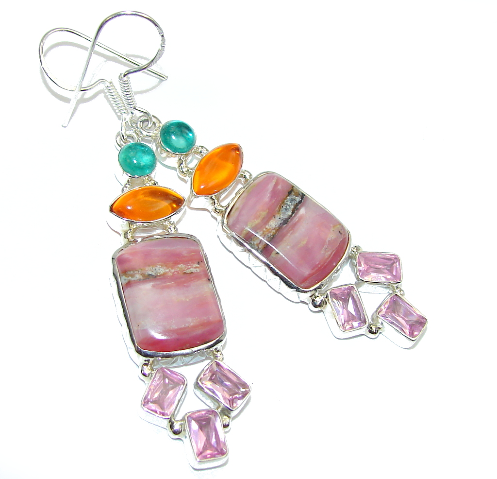 Fabulous Pink Rhodochrosite & Multicolor Quartz Sterling Silver earrings