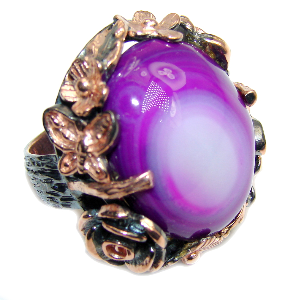 Perfect Style Purple Agate, Rose Gold Plated, Rhodium Plated Sterling Silver Ring s. 6