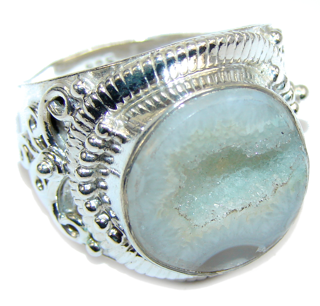 Classic Light Green Agate Druzy Sterling Silver Ring s. 12
