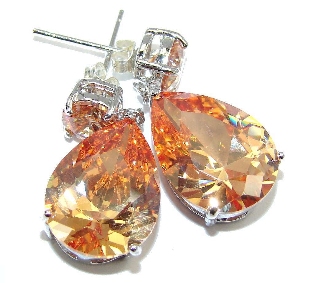 Exotic Beauty Created Golden Topaz Sterling Silver Earrings