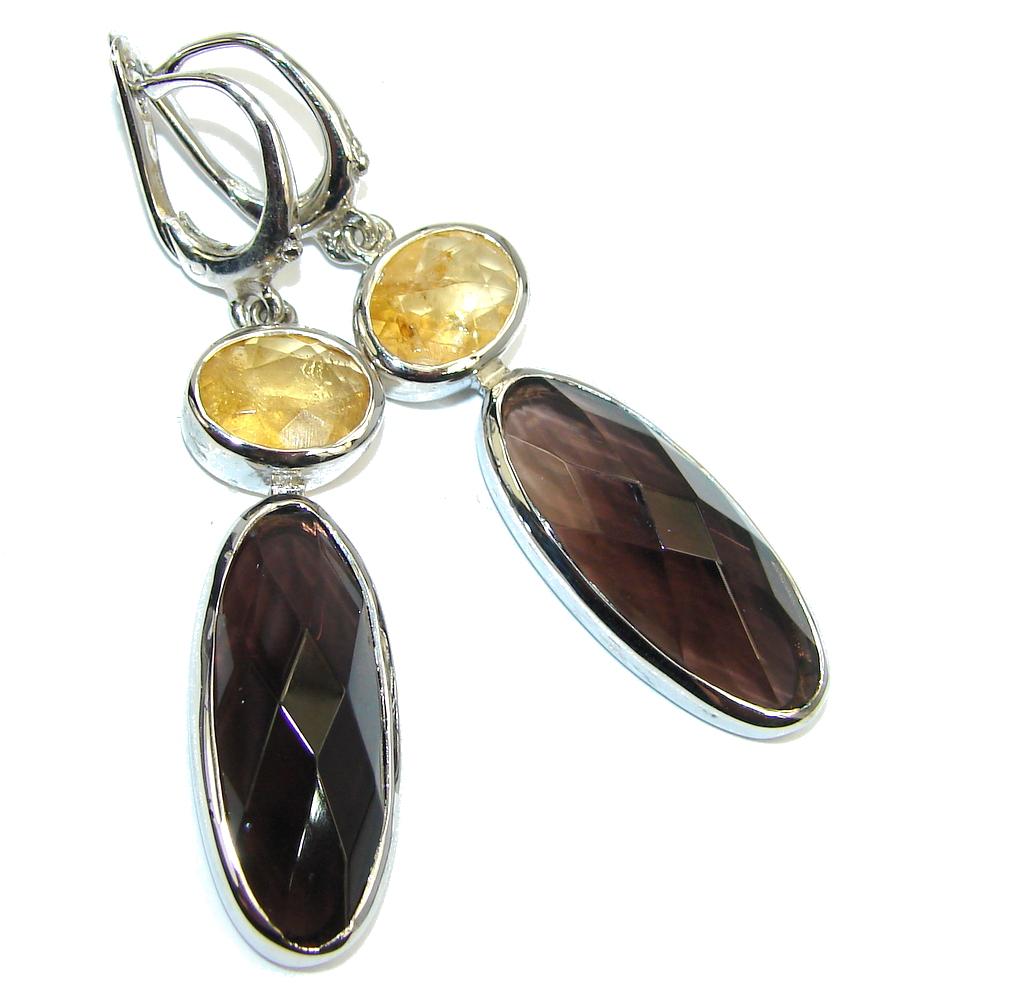 Genuine Brown Smoky Topaz & Citrine Sterling Silver earrings