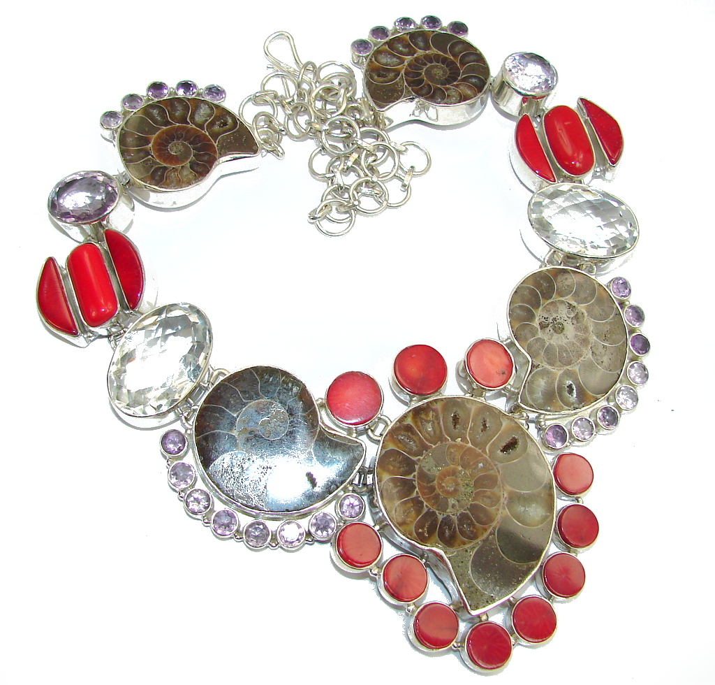 Big! Ocean Night Ammonite Fossil & Fossilized Coral Sterling Silver necklace