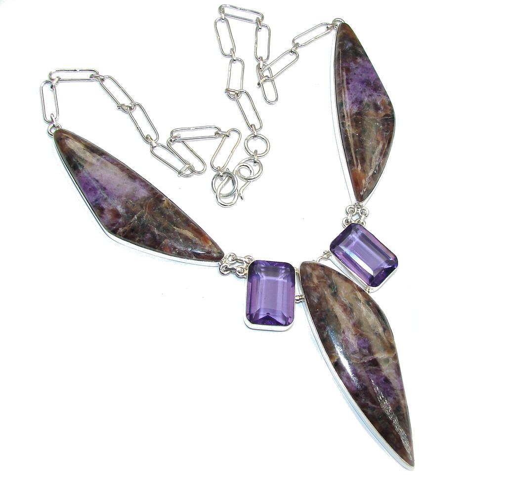 Enigma Purple Charoite Sterling Silver handmade Necklace