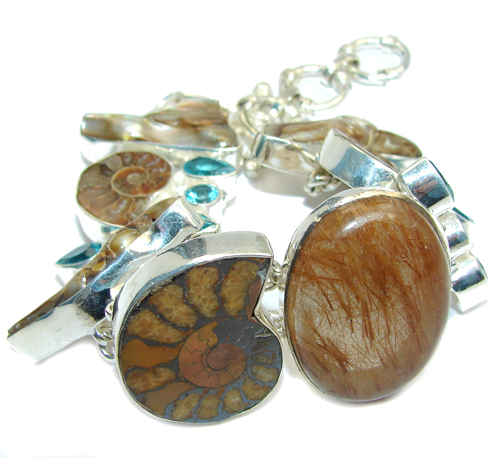 Beautiful Natural Fossilized Ammonite Fossil Sterling Silver Bracelet