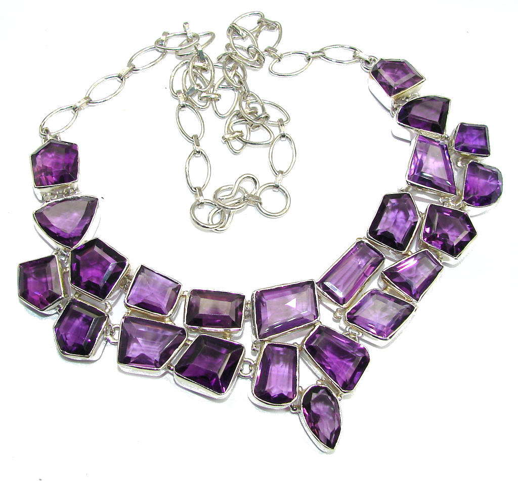 Summer Beauty Faceted African Amethyst Sterling Silver necklace