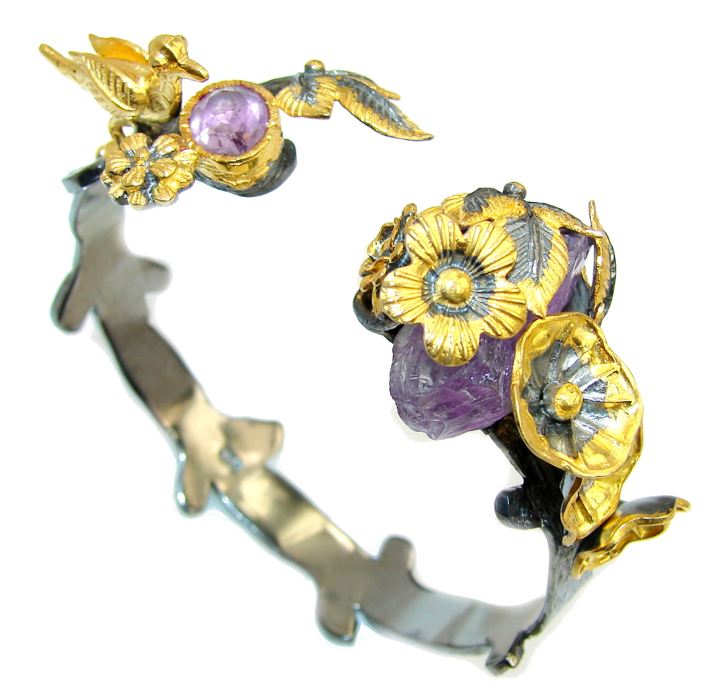 Stunning Rough Amethyst Gold Black Rhodium Plated over Sterling Silver Bracelet / Cuff