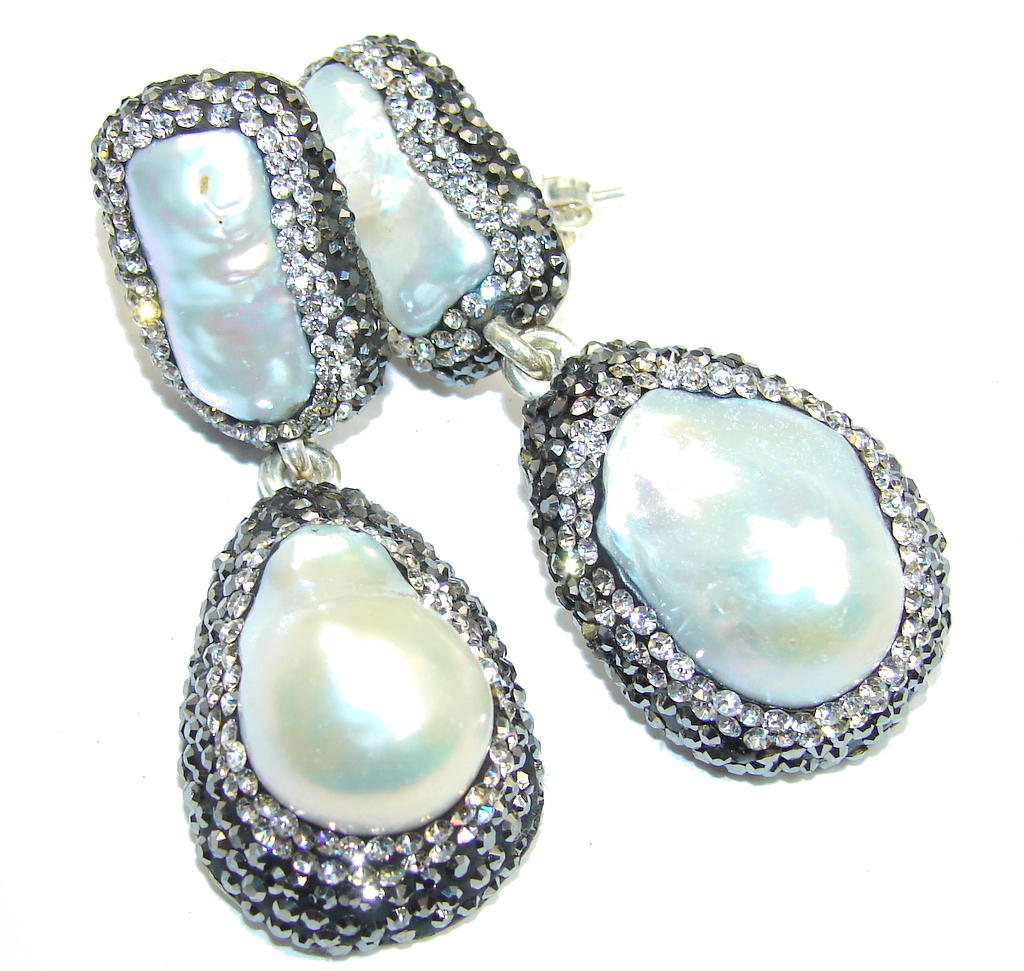big Classic Beauty Mother Of Pearl & Spinel Sterling Silver earrings
