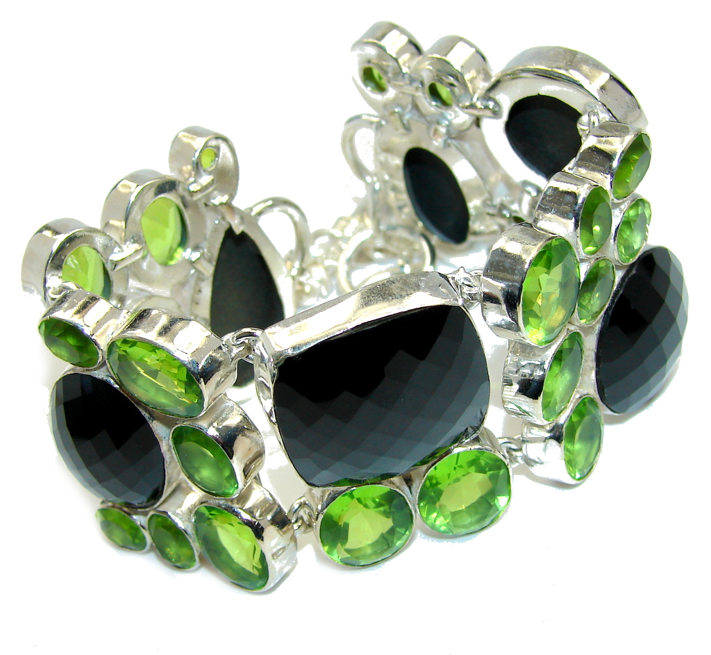 Bohemian Style Onyx & Quartz Sterling Silver Bracelet