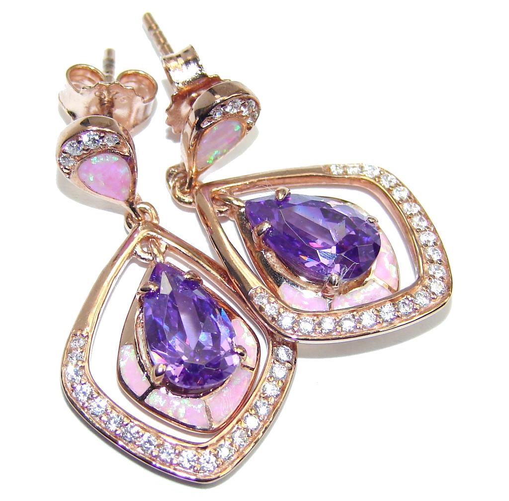 Genuine AAA Cubic Zirconia Fire Opal Gold over Sterling Silver earrings