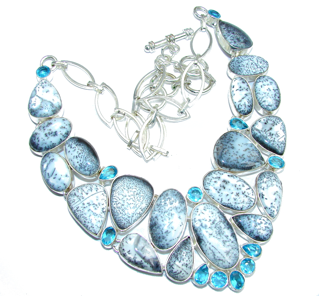 Oversized! Amazing Beauty Dendritic Agate & Blue Topaz Sterling Silver necklace