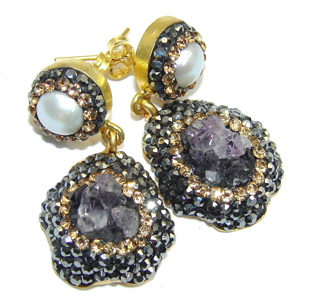 Genuine Amethyst Cluster Spinel Sterling Silver earrings