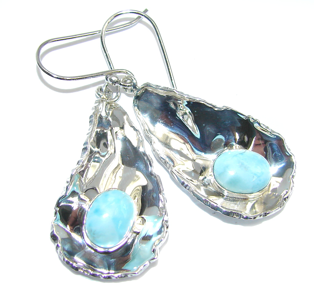 Caribbean Beauty Blue Larimar hammered Sterling Silver earrings