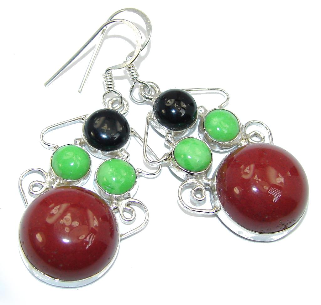 Handcrafted Red Jasper Sterling Silver earrings