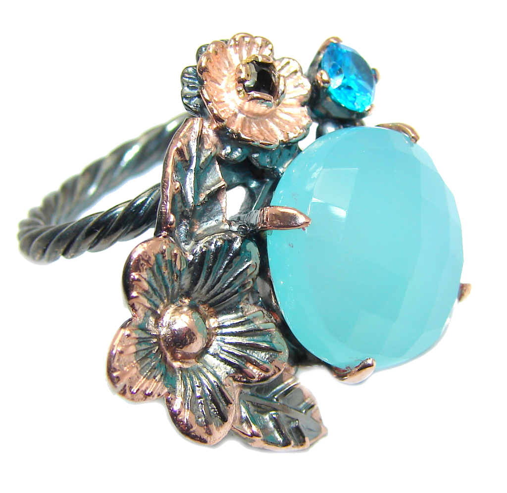 Blue Chalcedony Agate Gold Rhodium plated over Sterling Silver Ring s. 8