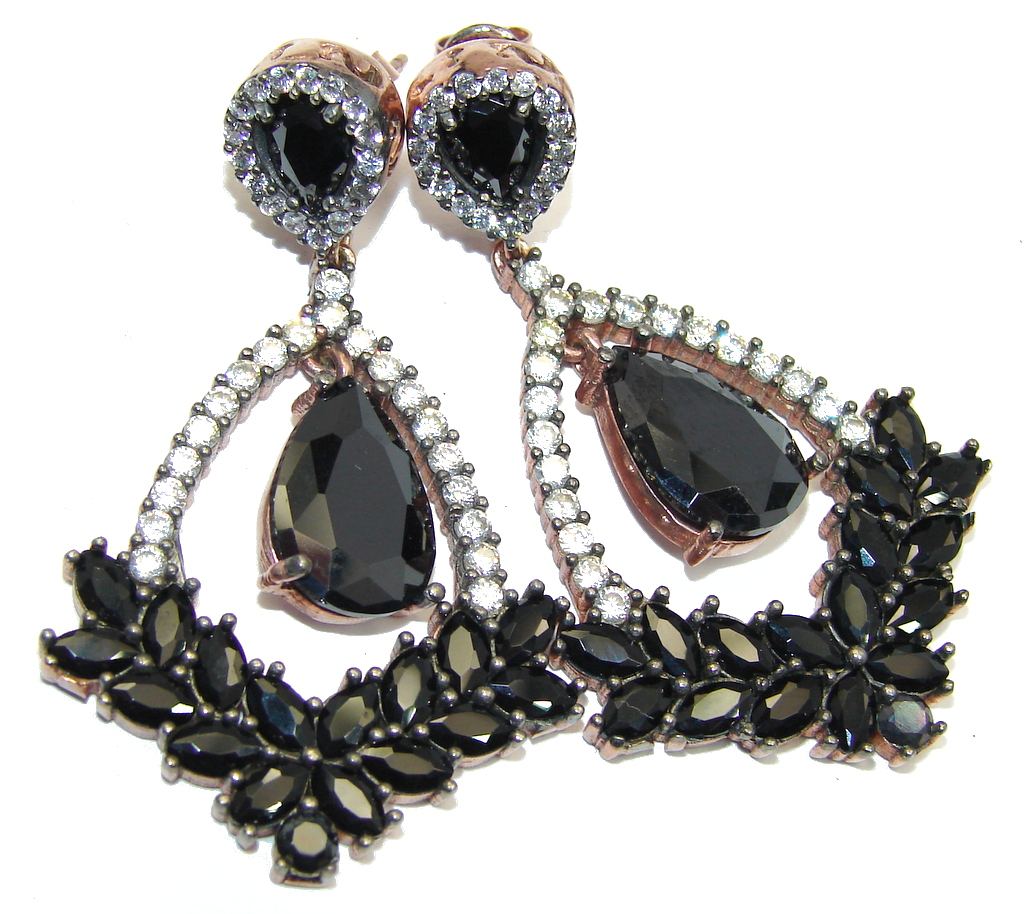 Large Victorian Style Onyx Ruby copper over Sterling Silver Earrings