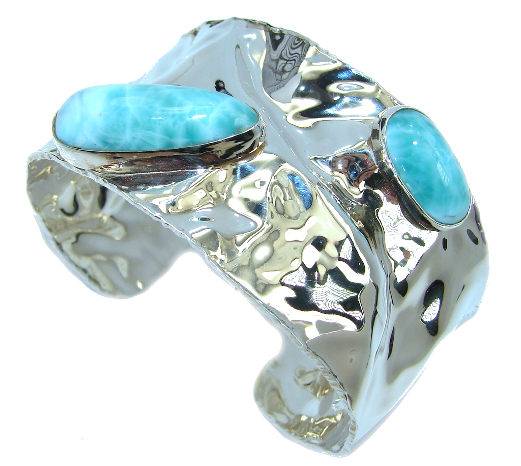 Always Together AAA Blue Larimar hammered Sterling Silver Bracelet / Cuff