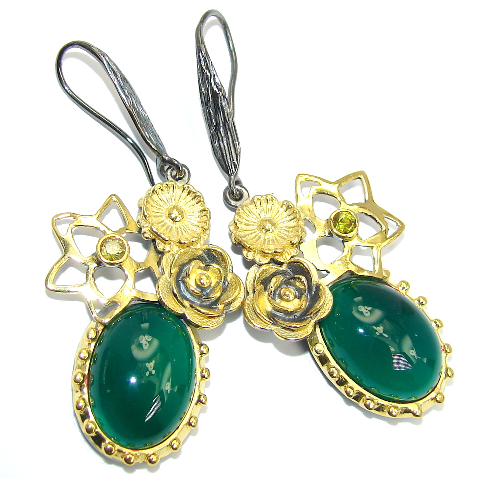 Exclusive Design Agate & Peridot Gold Rhodium Plated Sterling Silver earrings