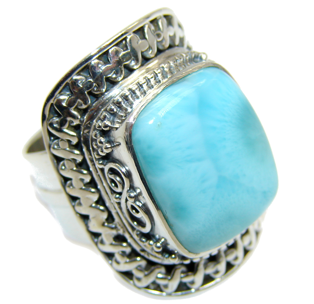 Huge Amazing AAA quality Blue Larimar Sterling Silver Ring size adjustable